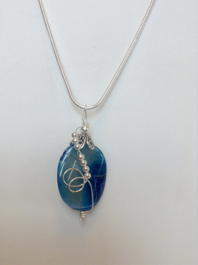 Sterling Silver Wrapped Pendant - Oval Blue Quartz Stone