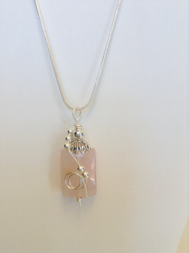 Sterling Silver Wrapped Pendant - Rectangle Light Pink Rose Quartz