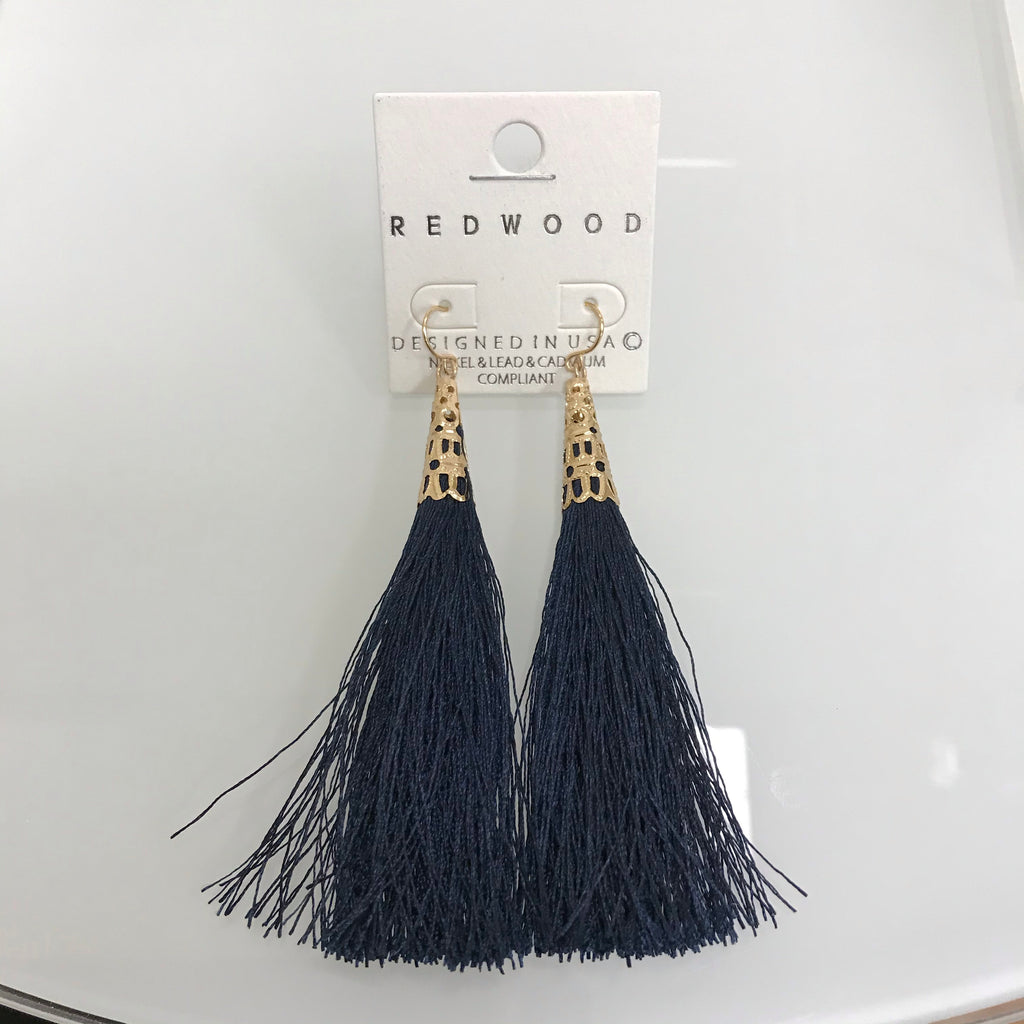 Redwood Earrings Gold Fishhook Navy Tassel LE1026GD/NAVY on Card