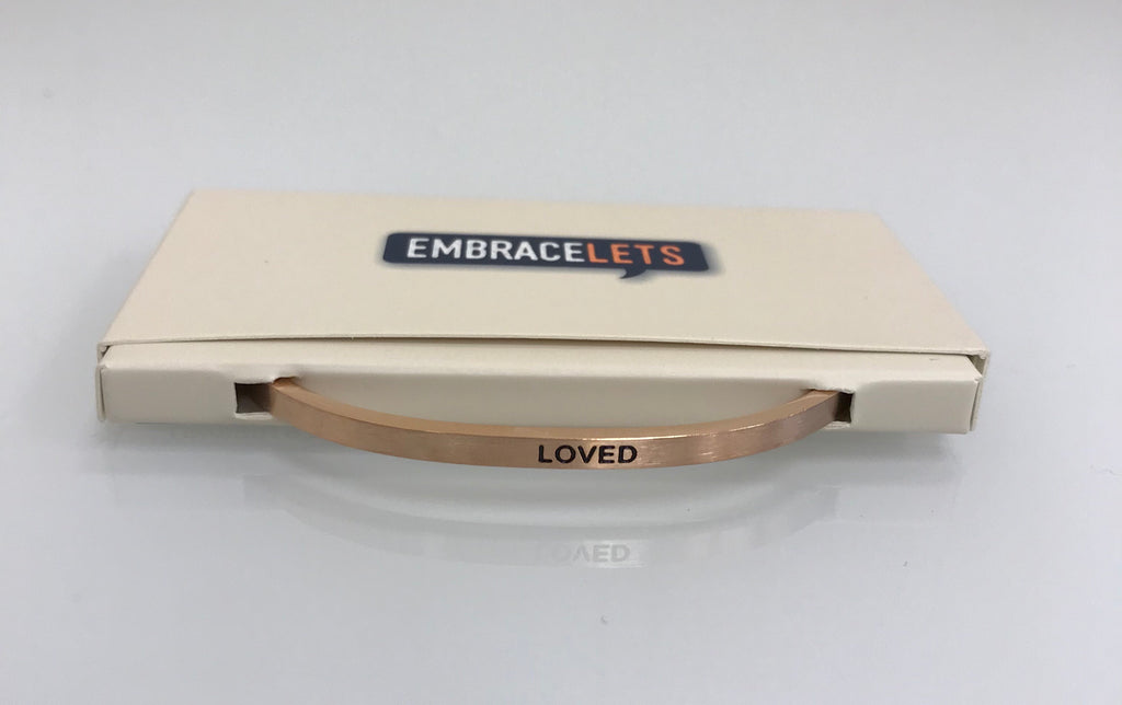 "Embracelets - ""Loved"" Rose Gold Stainless Steel, Stackable, Layered Bracelet - Accessories Boutique"