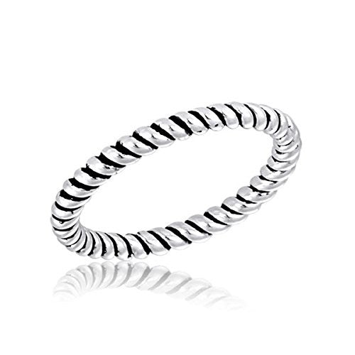 Davinci Stackable Ring Silver Striped Band Ring STK1