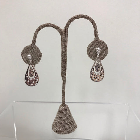 Its Sense Earrings Silver Half Circle Filigree Dangle E6671MS