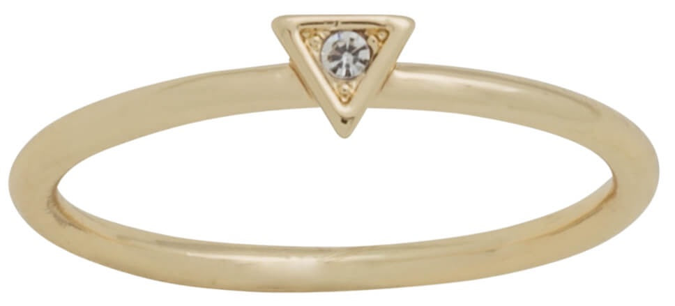 DaVinci Layers Stackable Gold Crystal Diamond Design Ring #17