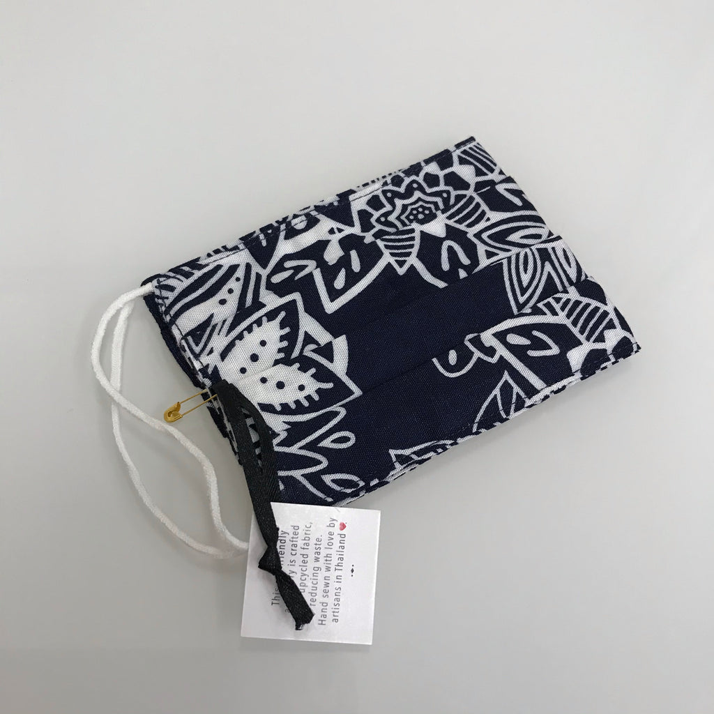 Lotus and Luna Face Covering Navy White Pattern Pleated