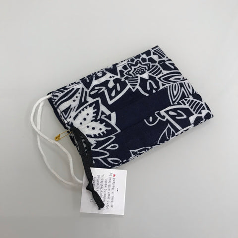 Lotus and Luna Face Covering Royal Blue White Pattern Pleated