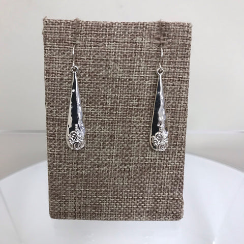 Its Sense Earrings Silver Black Shimmer Crystal Fishhook E8950-HMT