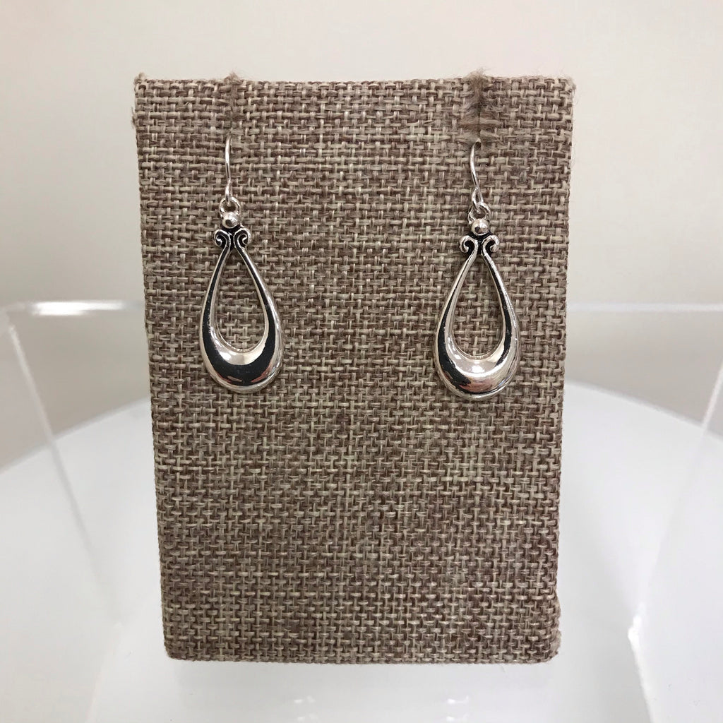 Earrings Silver Open Thick Bottom Teardrop Fishhook  E8237