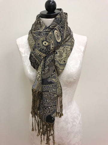 Pashmina Scarf - Navy Blue Gray Paisley Patterned Scarf Shawl