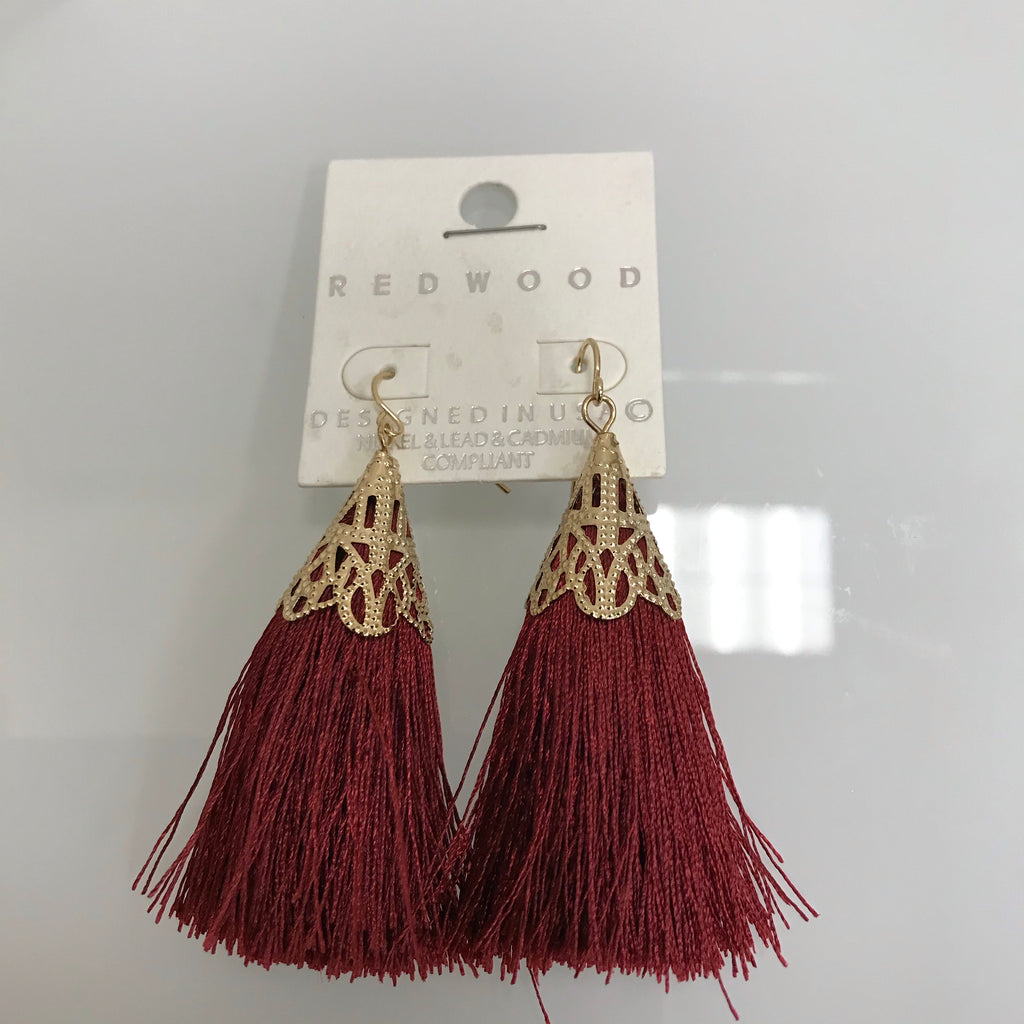 Redwood Earrings Gold Red Tassel Fishhook LE1025GD/RED on Card