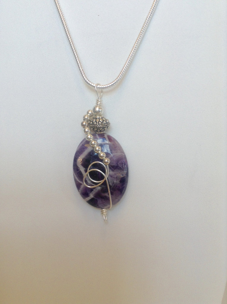 Sterling Silver Wrapped Pendant - Oval Amethyst Stone