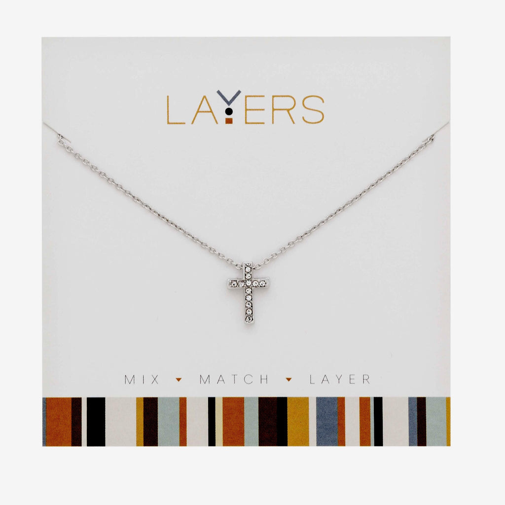Center Court Layers Necklace Silver Crystal Cross LAY515