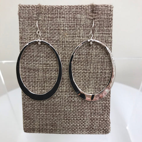Earrings Silver Oval Tribal Design Fishhook EM8574ATS