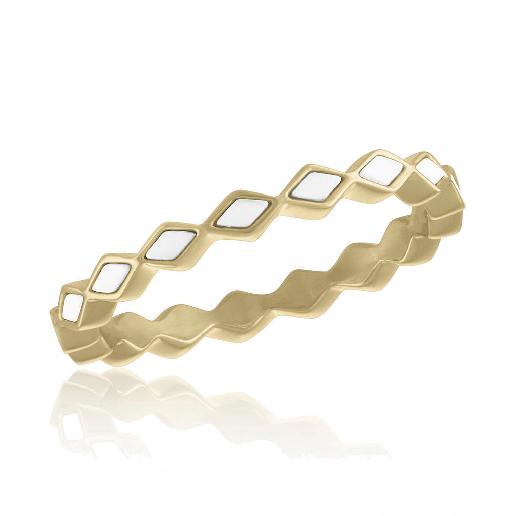 DaVinci Ring Layers Stackable Gold White Ridged Ring Lay34