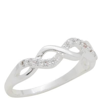 DaVinci Ring Stackable Silver Oval Crystal Ring STK22-4