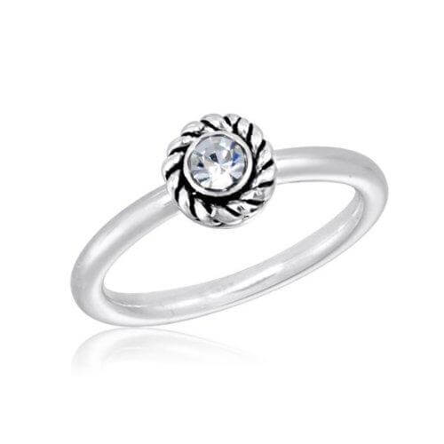DaVinci Ring - Stackable Crystal Round Silver Ring STK17-4