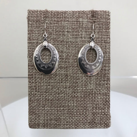 Earrings Silver Open Teardrop Twist  Fishhook  E8130