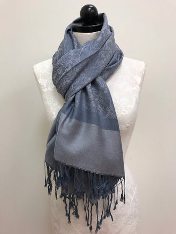 Pashmina Scarf - Blue Sea-foam Color Pattern Scarf Shawl