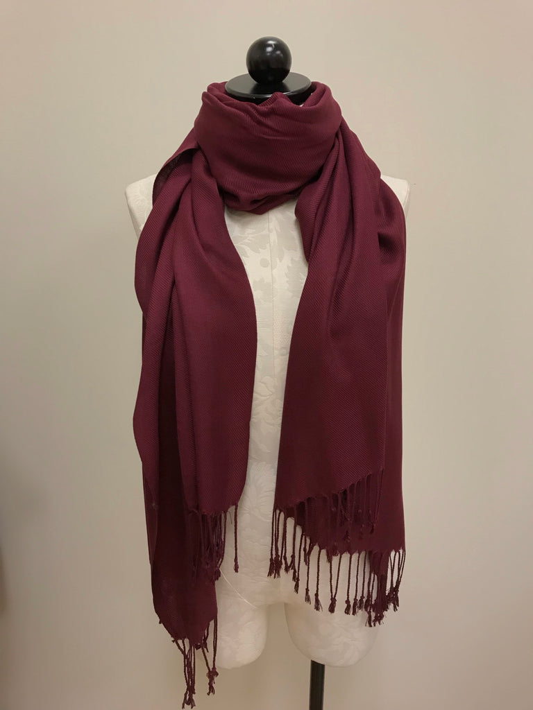 Pashmina Scarf - Merlot Colored Solid Print Scarf Shawl