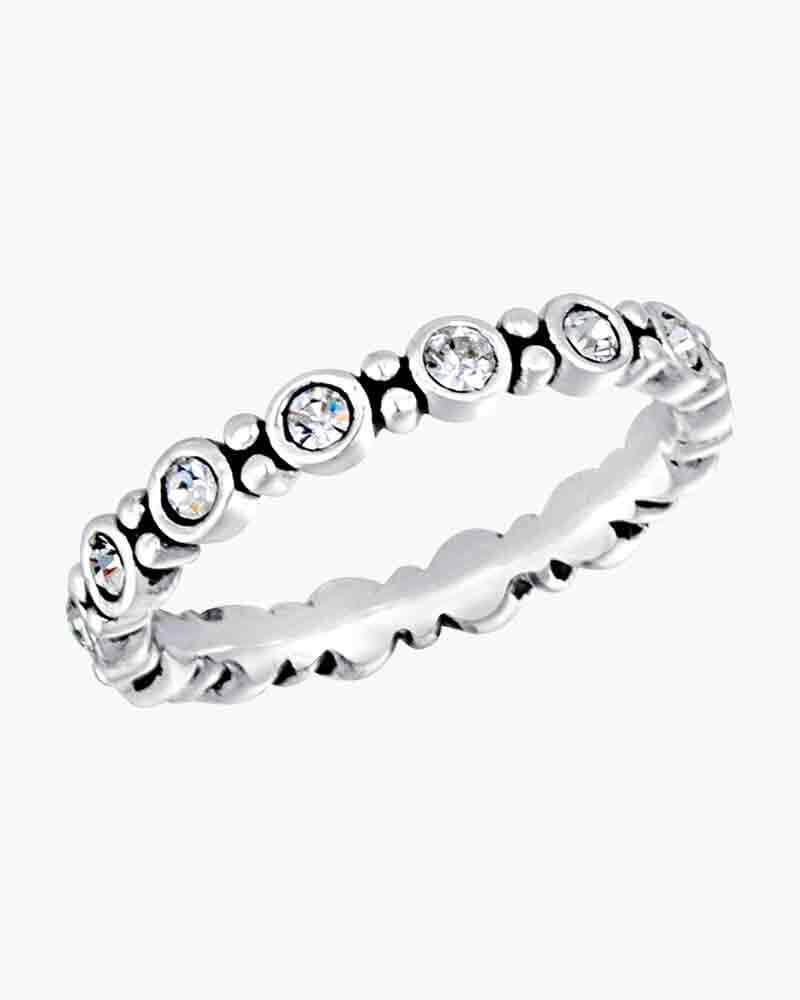 DaVinci Ring - Stackable Silver Round Stone Ring STK14-4
