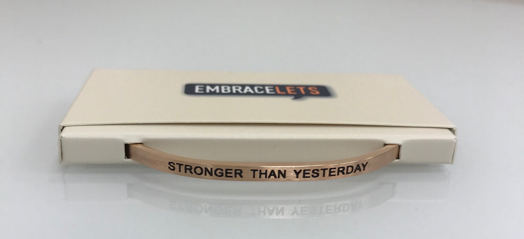 "Embracelets - ""Stronger Than Yesterday "" Rose Gold Stainless Steel, Stackable, Layered Bracelet - Accessories Boutique"