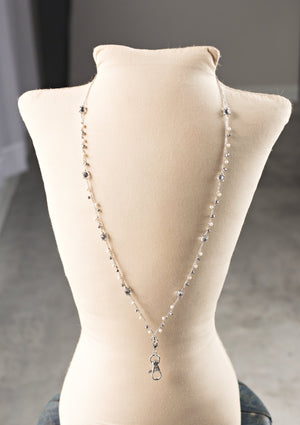Susanne Pearlized Crystal Dangle Lanyard Necklace (silver)