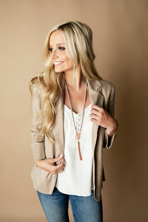 Angie Faux Suede Chain Tassel Lanyard Necklace - Rose Gold
