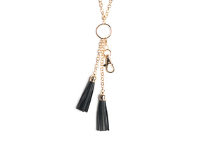 Anne Dbl Leather Tassel Pendant (Gold)