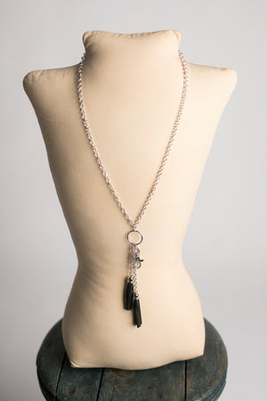 Anne Dbl Leather Tassel Pendant (Silver)