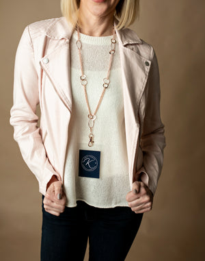 Elizabeth Oblong Link Double Chain Lanyard (Rose Gold)