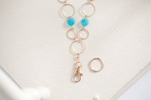 Carolina Fashion Lanyard Necklace with Turquoise Gemstones (Gold)