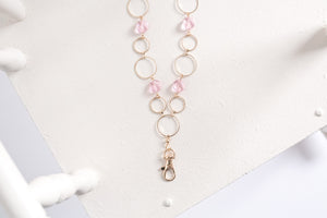Carolina Fashion Lanyard Necklace with Rose Quartz Crystal Jewels (Gold)