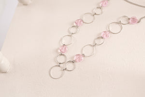 Carolina Fashion Lanyard Necklace with Rose Quartz Crystal Jewels (Silver)