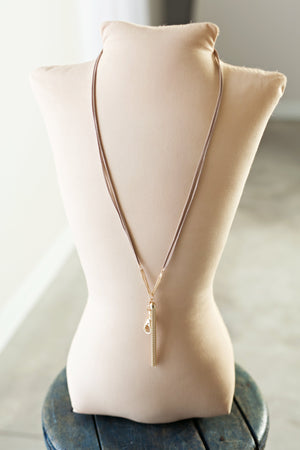 Angie Faux Suede Chain Tassel Lanyard Necklace - Gold