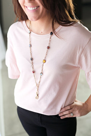 Georgia Multi-Colored Crystal Station Statement Lanyard Necklace (gold)
