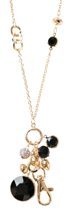 Emily Jet Convertible Drop Pendant Lanyard Necklace (Gold)