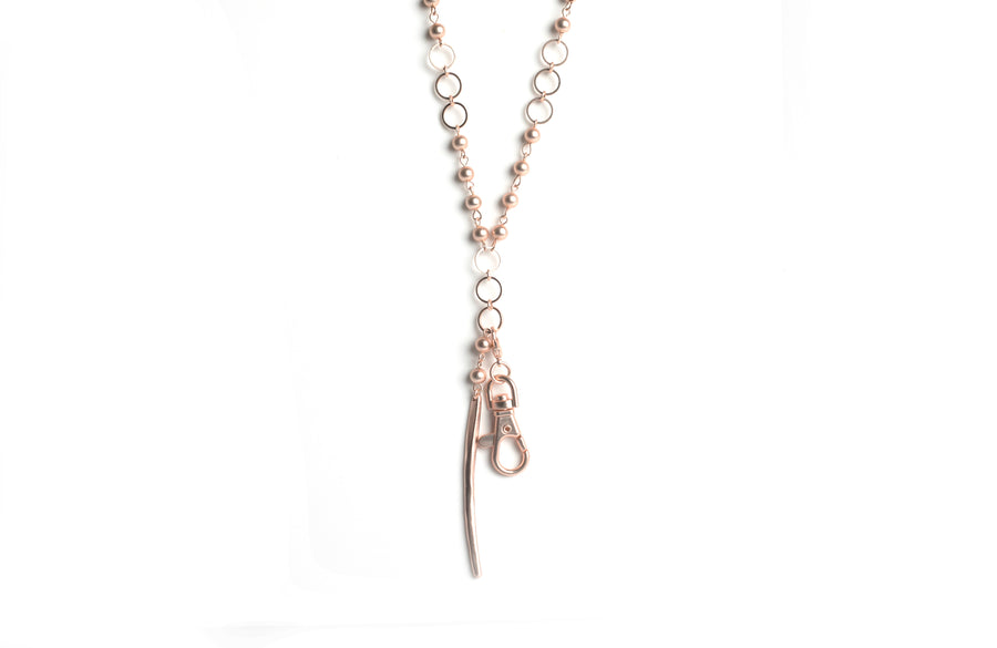 "Jill Spear Pendant ""y"" (matte Rose Gold)"
