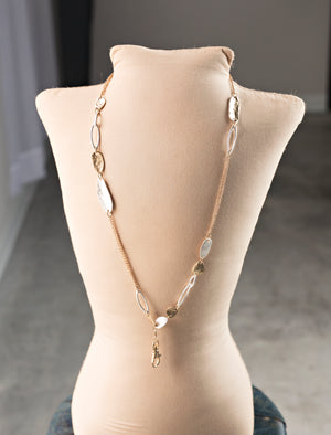 Kathryn Textured Oblong Link Lanyard Necklace
