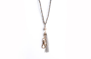 Leah Beaded Chain Tassel Lanyard Necklace (Gold)