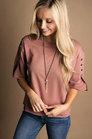Leah Beaded Chain Tassel Lanyard Necklace (Rose Gold)