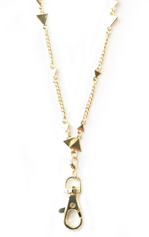 Michelle Women's Fashion Lanyard Triangle Necklace with Swivel Clasp (gold)