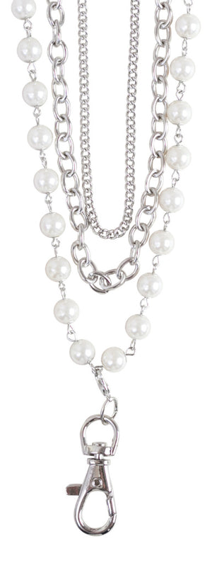 Sarah Women's Layered Pearl Fashion Lanyard (Silver) …