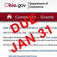 Ohio fire equipment grant apps are due 1/31!