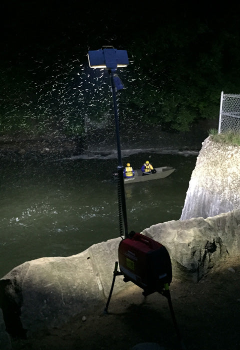 Aiming over the edge, lighting search efforts. Photo courtesy of QDCIP Fire, LLC (Ohio)
