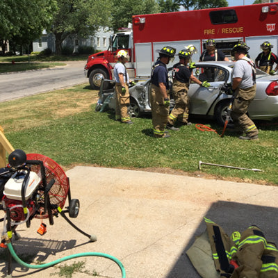 Pittsfield Fire uses a Ventry Mister to cool fire fighters during an extrication demonstration for the public.