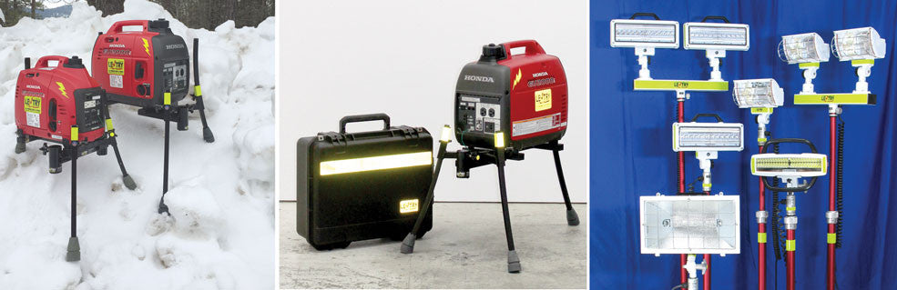 3 images: Generators with legs in snow; LED lighting unit with case; and 6 light choices
