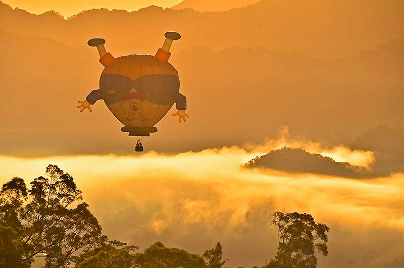 Hot air balloon being flown threw the skies of Taiwan