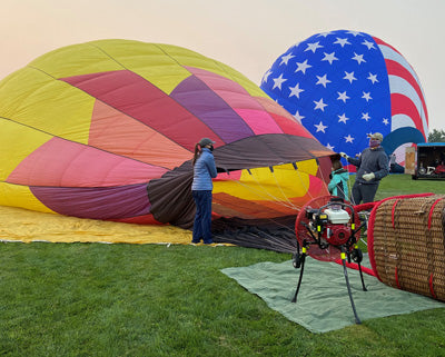 Inflating a hot air balloon is made easier with a Ventry Fan