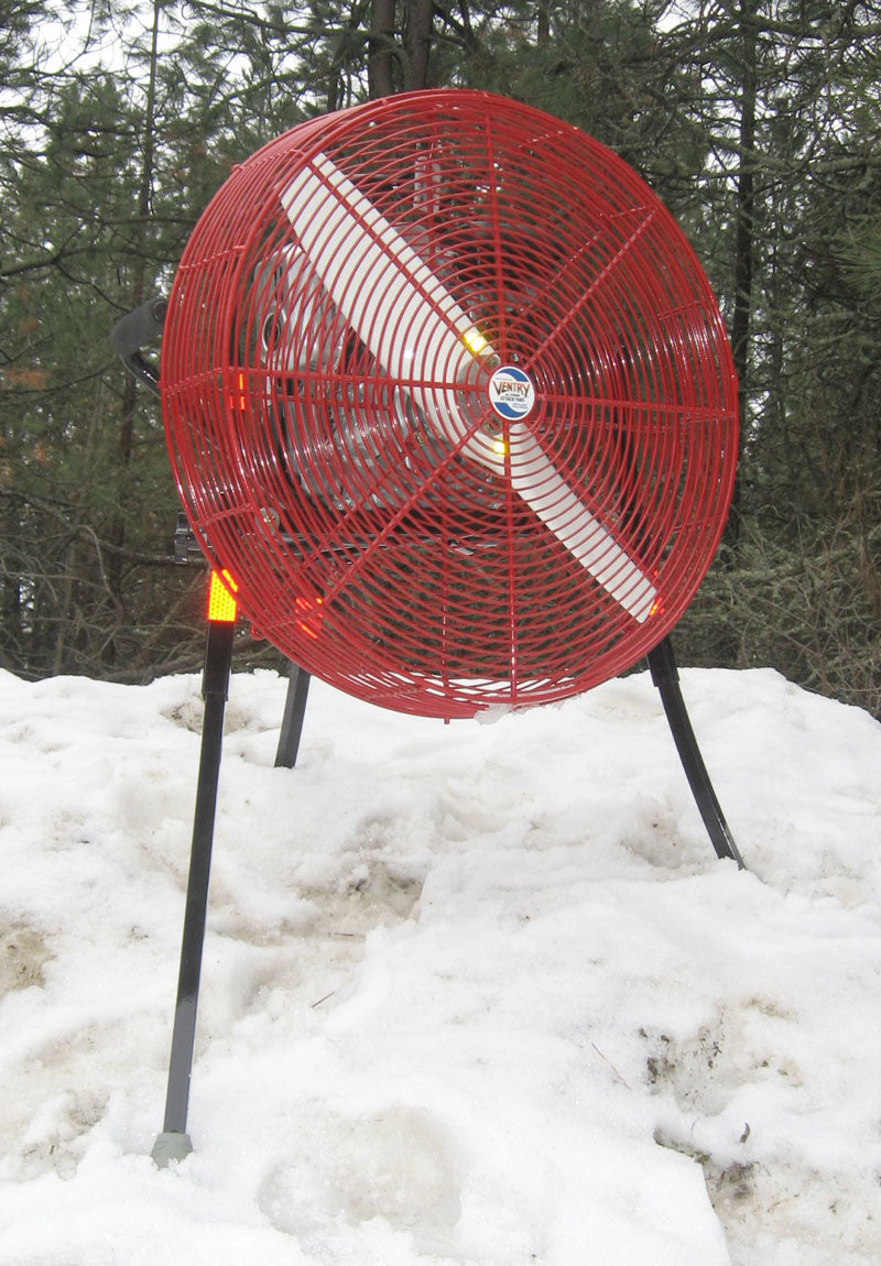 24-inch VENTRY PPV Fan set up in snow and ready to go