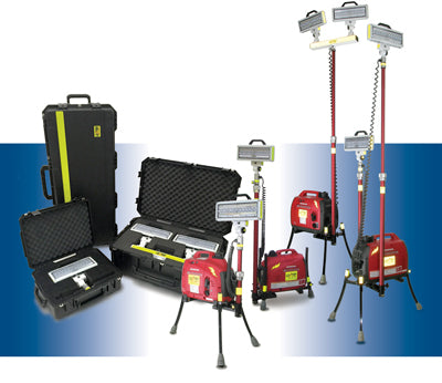 V-Spec cases and some of the portable LED work lights with which they are included.
