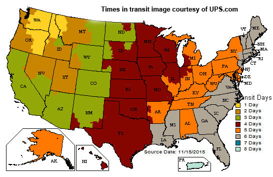 Time in transit map, courtesy of ups.com